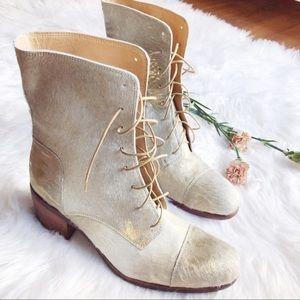 {frye} golden lace-up combat booties